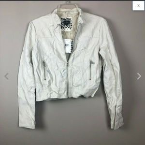 Cream Vegan Faux Leather Quilted Moto Jacket S